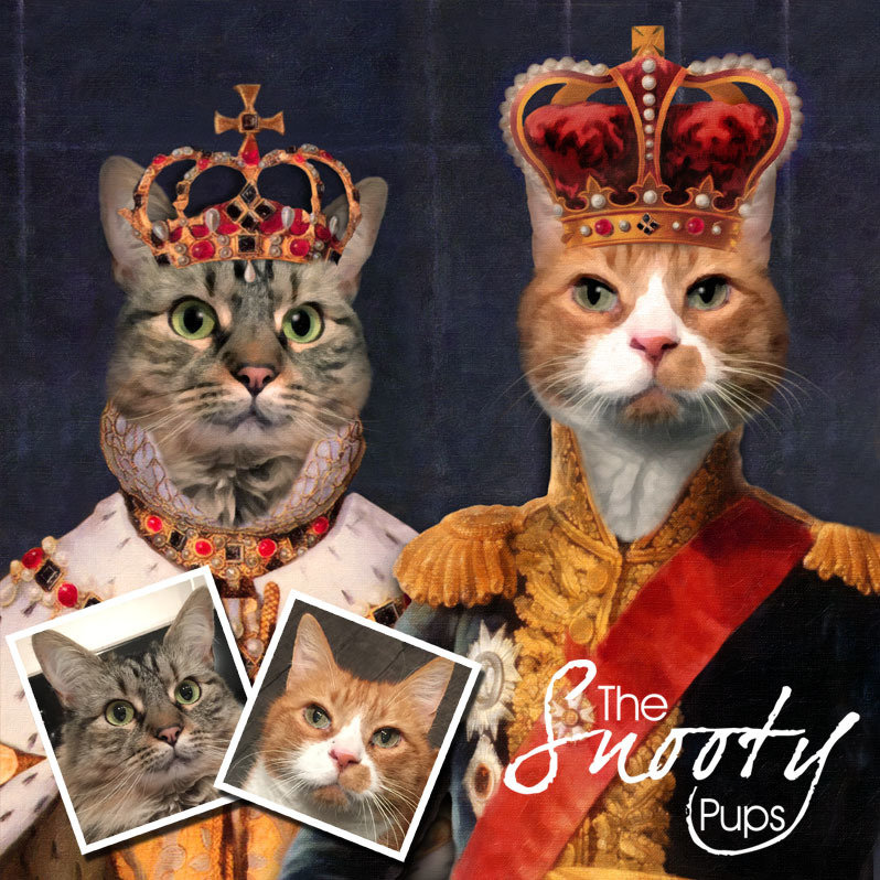 King & Queen Couple Portrait Cat Portrait 00105