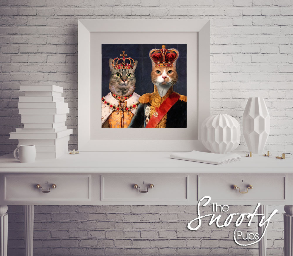 King & Queen Couple Portrait Cat Portrait