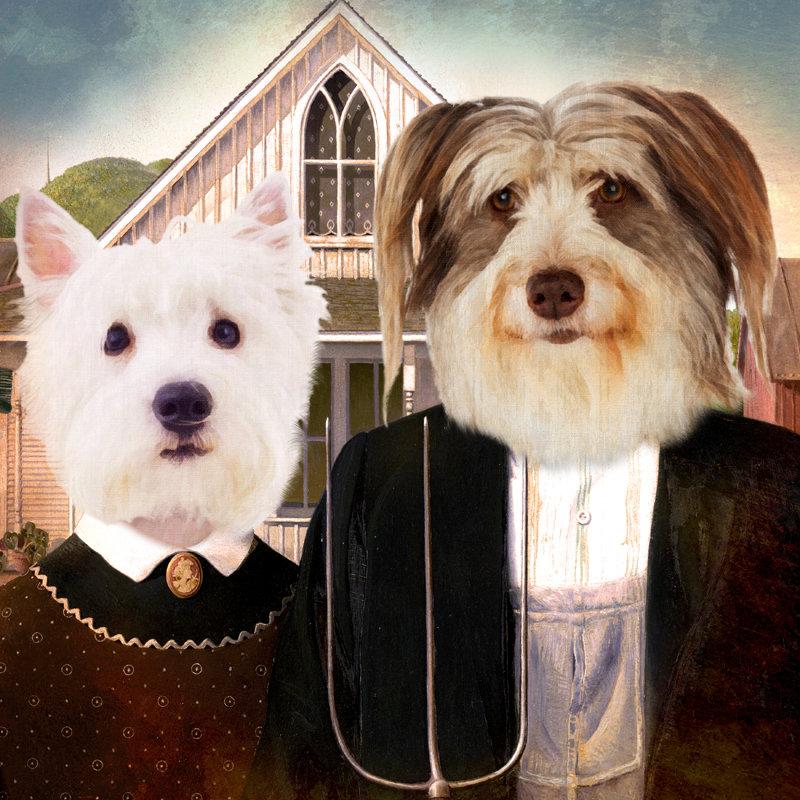 Farmer Couple Custom Pet Portrait 00104