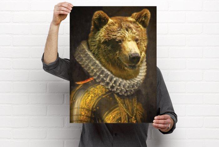Bear Picture, Bear Portrait, Bear Print, Bear Wall hanging