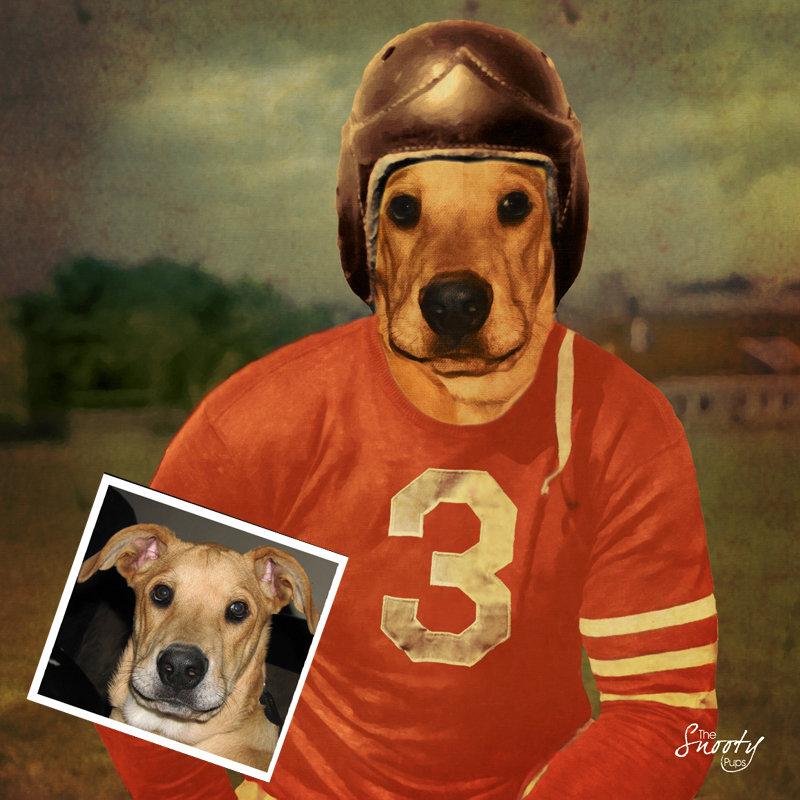Custom Dog Portrait - Vintage Football Player