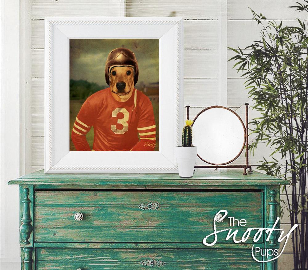 Vintage Football Player Custom Dog Portrait