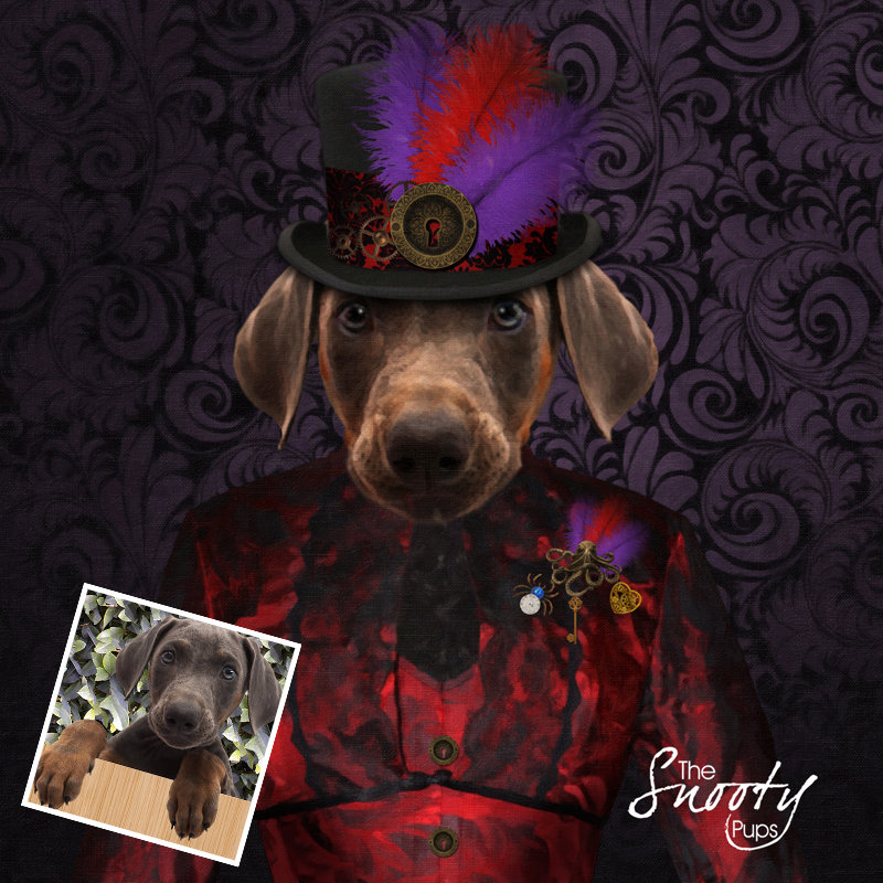 Steampunk Custom dog Portrait 00139