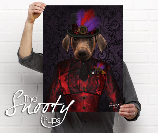 Steampunk Custom dog Portrait