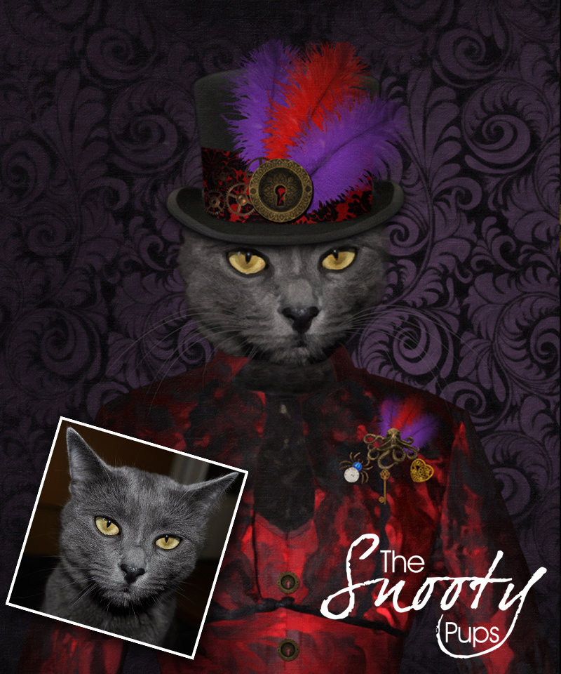 Steampunk Custom cat Portrait 00140