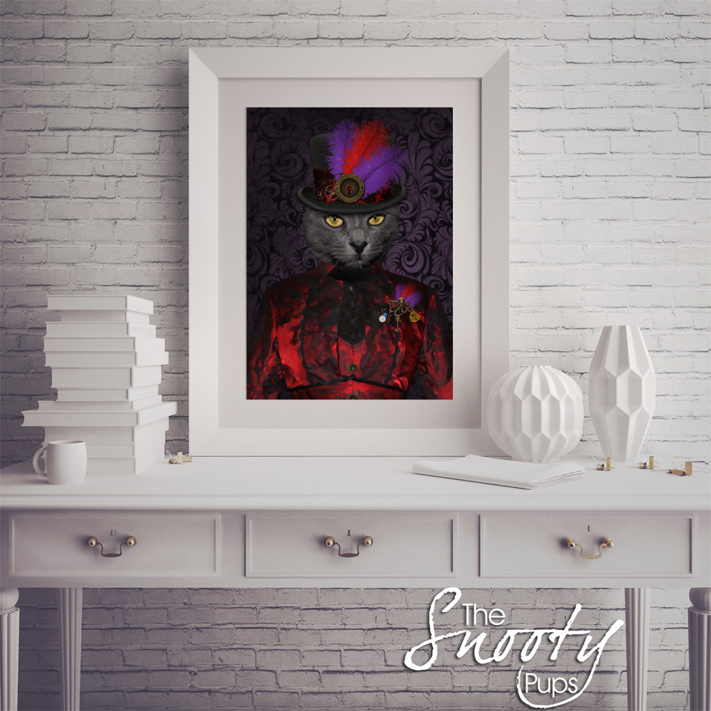 Steampunk Custom cat Portrait