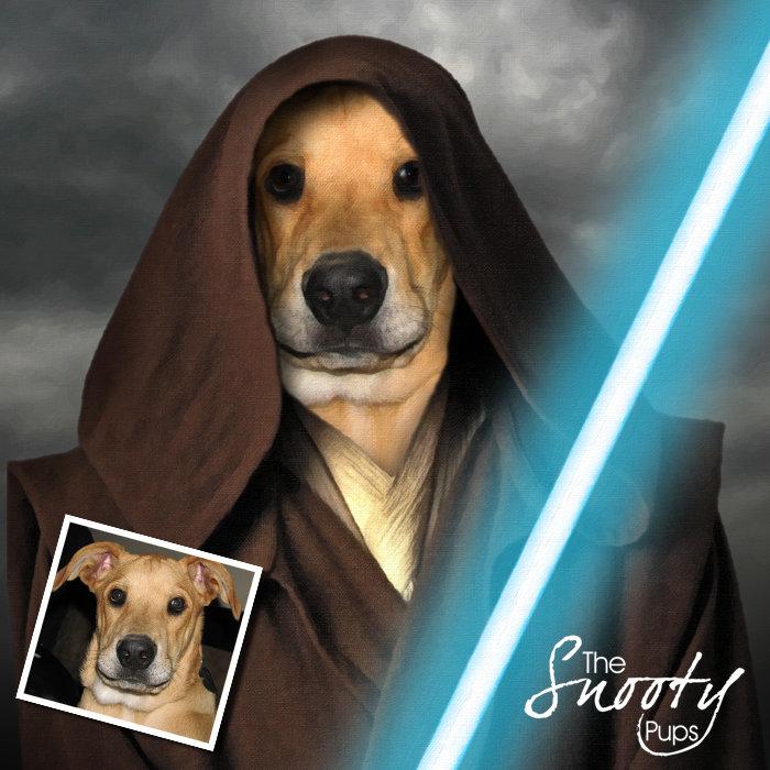 Obi Wan Start Wars Custom Dog Portrait 00150