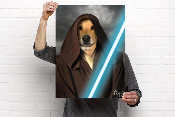 Obi Wan Start Wars Custom Dog Portrait