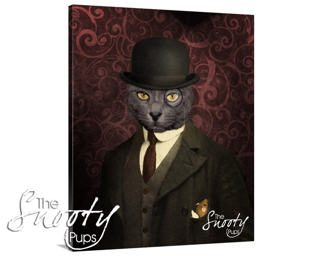Bowler Hat Custom Cat Portrait