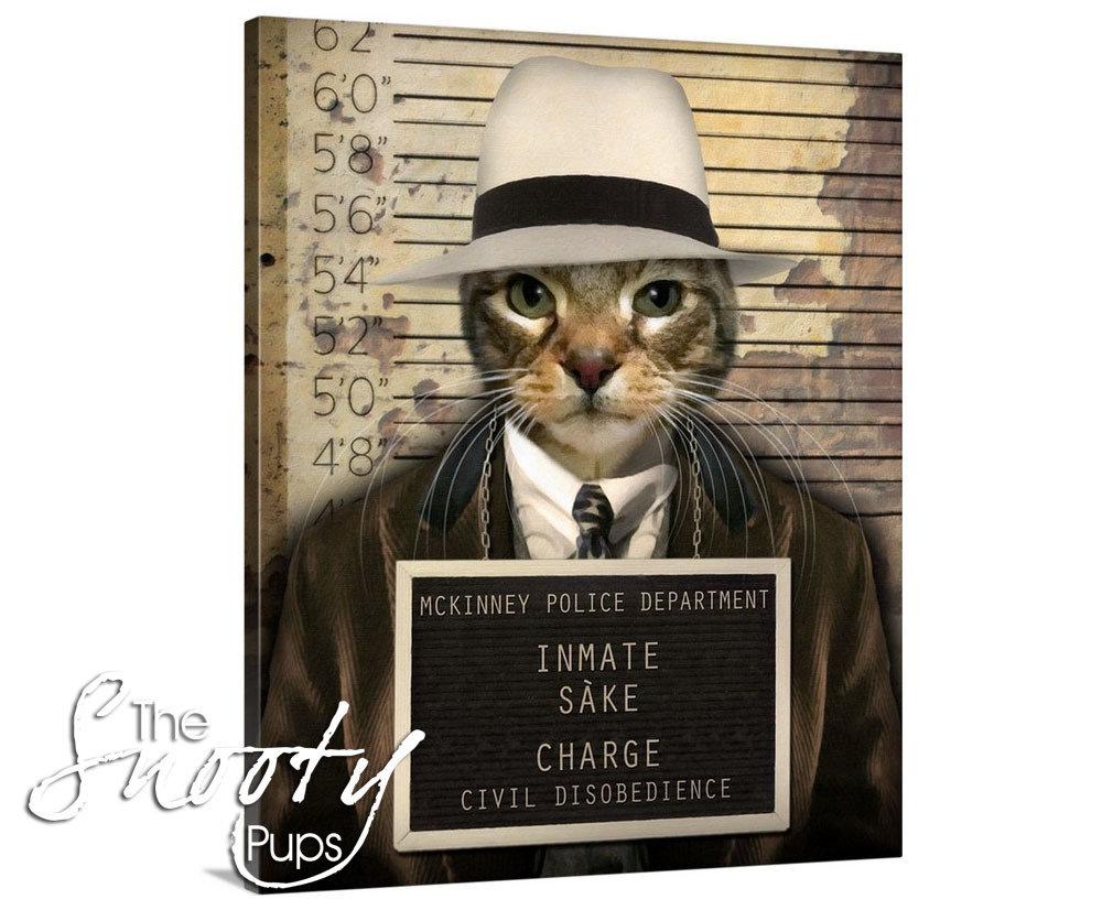 Mobster Cat Portrait Canvas