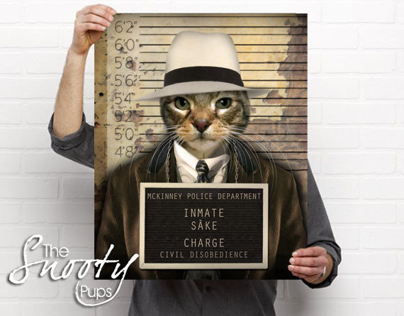 Mobster Cat Portrait Poster