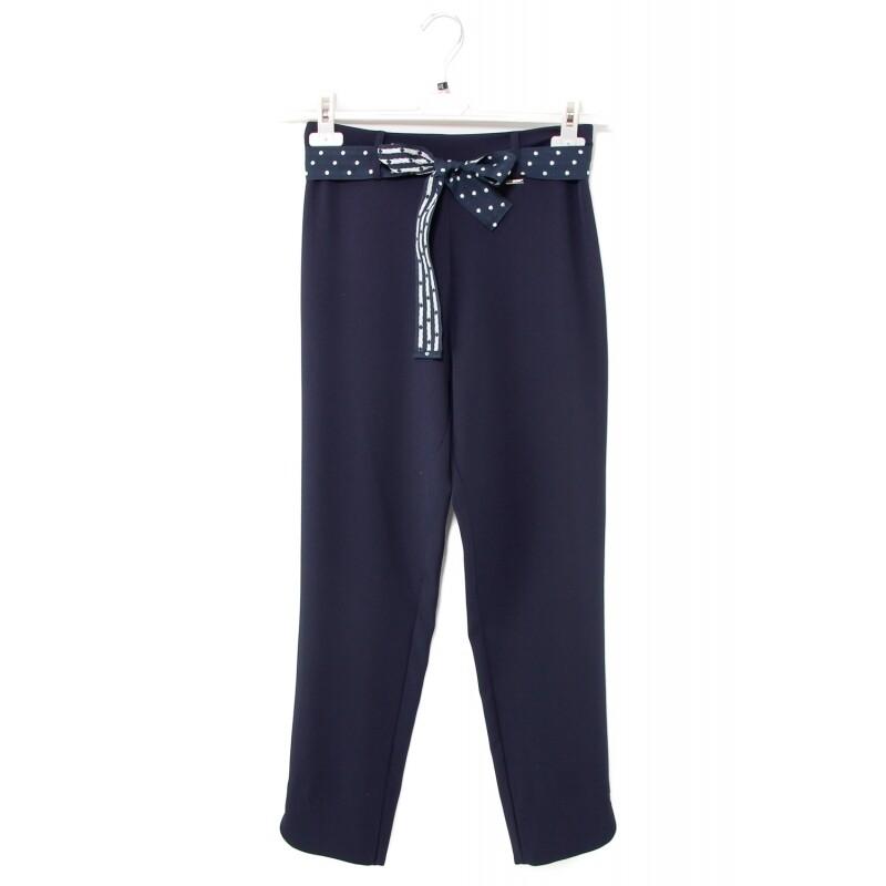 Pantalone capri blu a vita alta