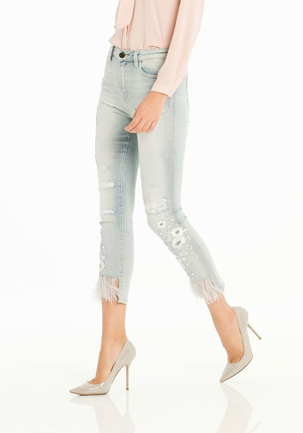 Jeans cropped con ricami
