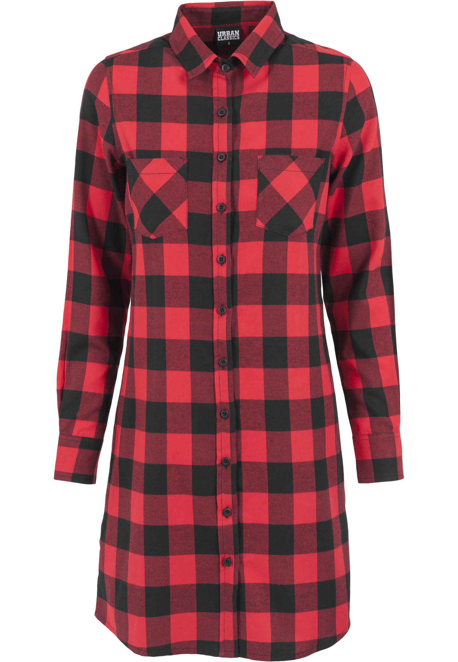 Robe chemise à carreaux URBAN CLASSICS rouge et noire urban classics-robe checked flanell rouge