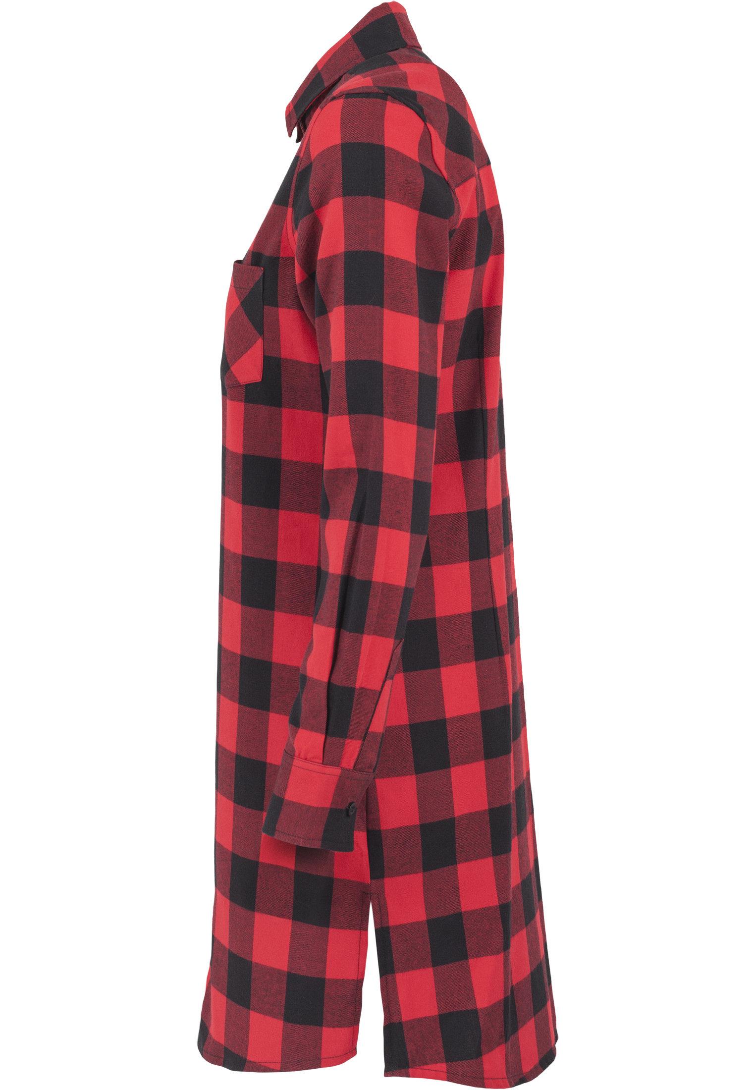 Robe chemise à carreaux URBAN CLASSICS rouge et noire