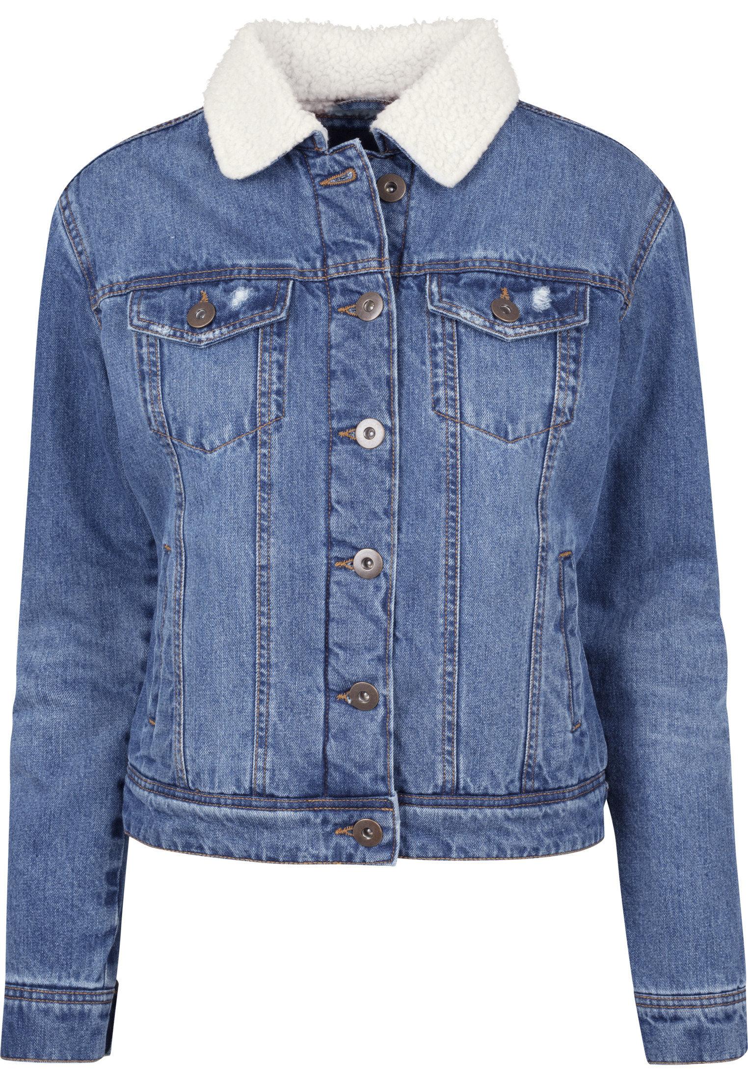 Veste en jean sherpa femme URBAN CLASSICS bleu washed urban classics-sherpa jean femme blue washed