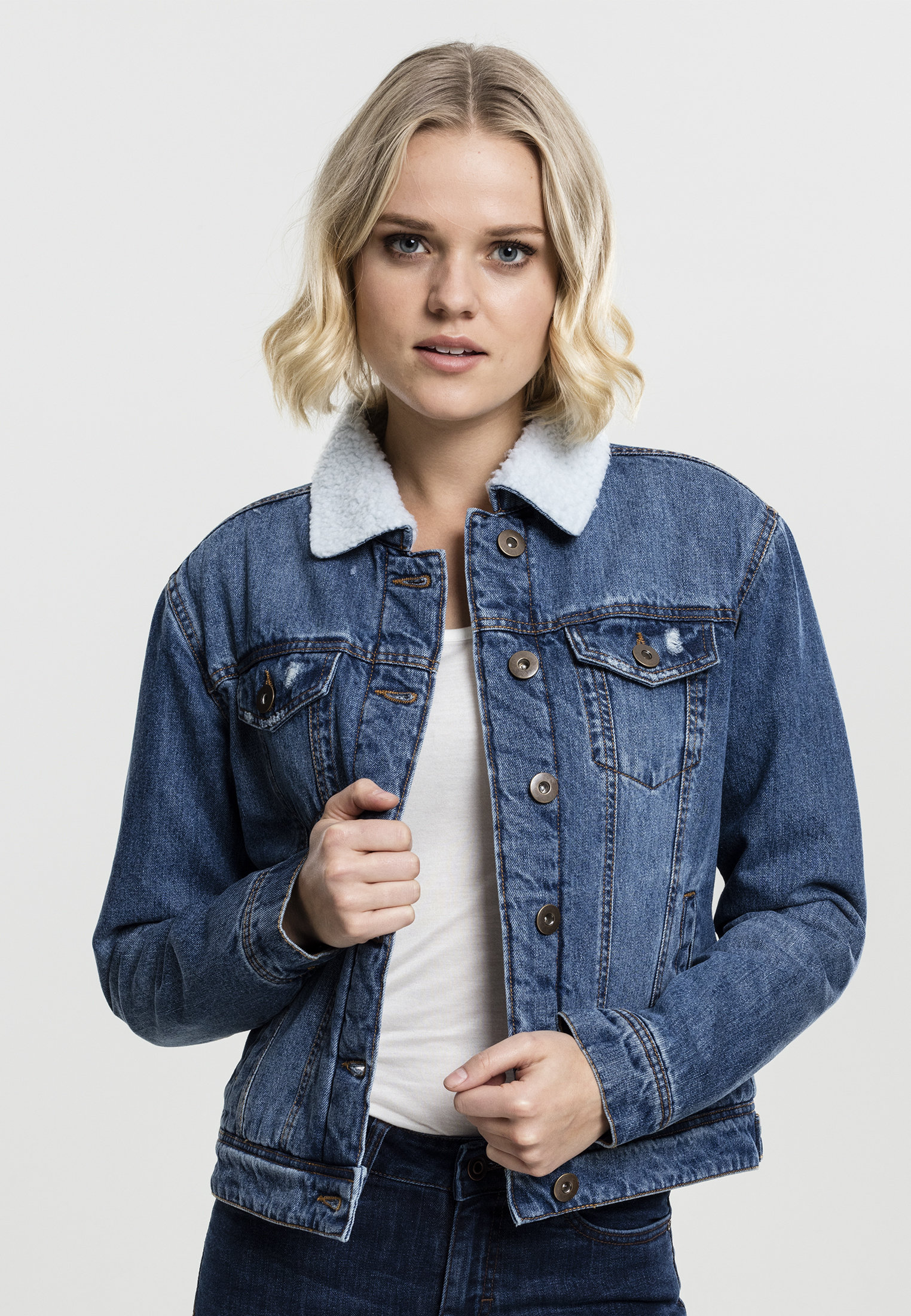 Veste en jean sherpa femme URBAN CLASSICS bleu washed