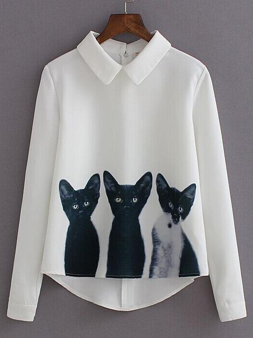 Blouse manches longues imprimée Chats coeur-blouse chats