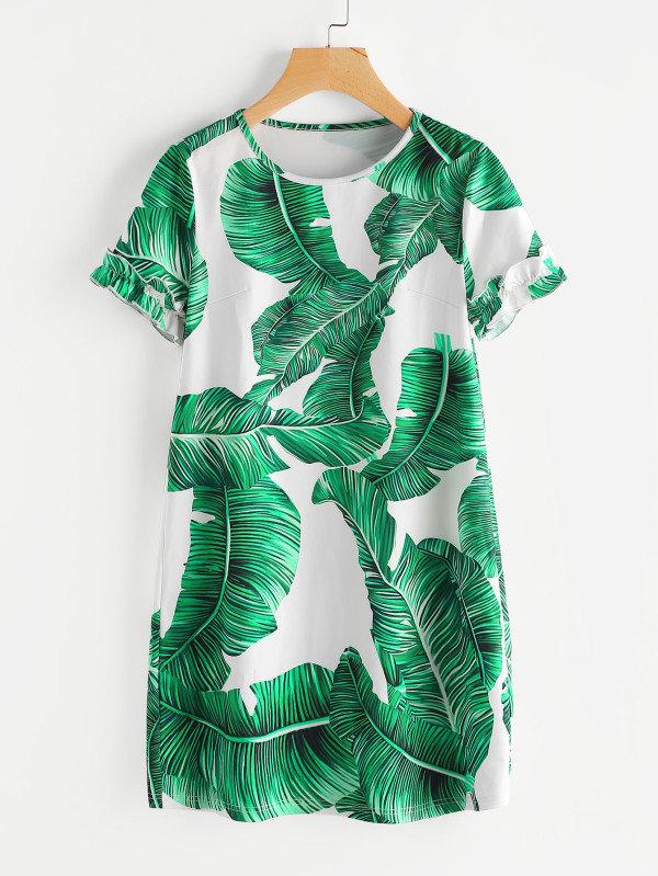 Robe imprimée végétal vert coeur-robe vegetal vert