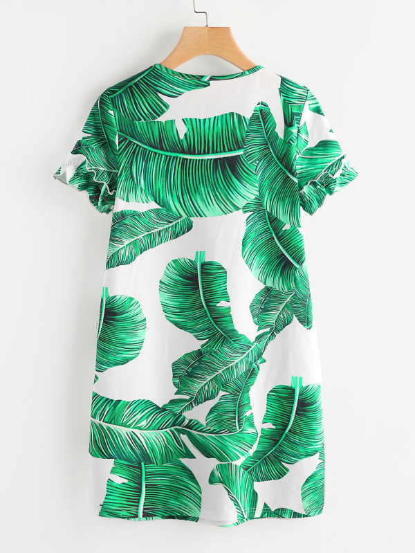 Robe imprimée végétal vert
