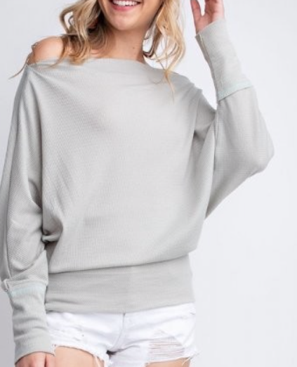 Slouchy Top ~ Light Grey