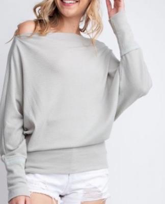 Slouchy Top ~ Light Grey