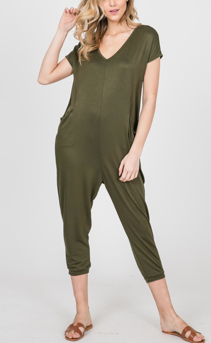 Easy like a Sunday Morning ~ Crop Romper ~ Olive