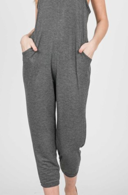 Easy like a Sunday Morning ~ Crop Romper ~ Charcoal