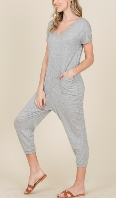 Easy like a Sunday Morning ~ Crop Romper ~ Heather Grey