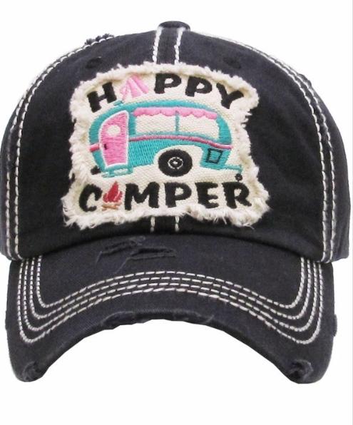 Happy Camper cap ~  Distressed black