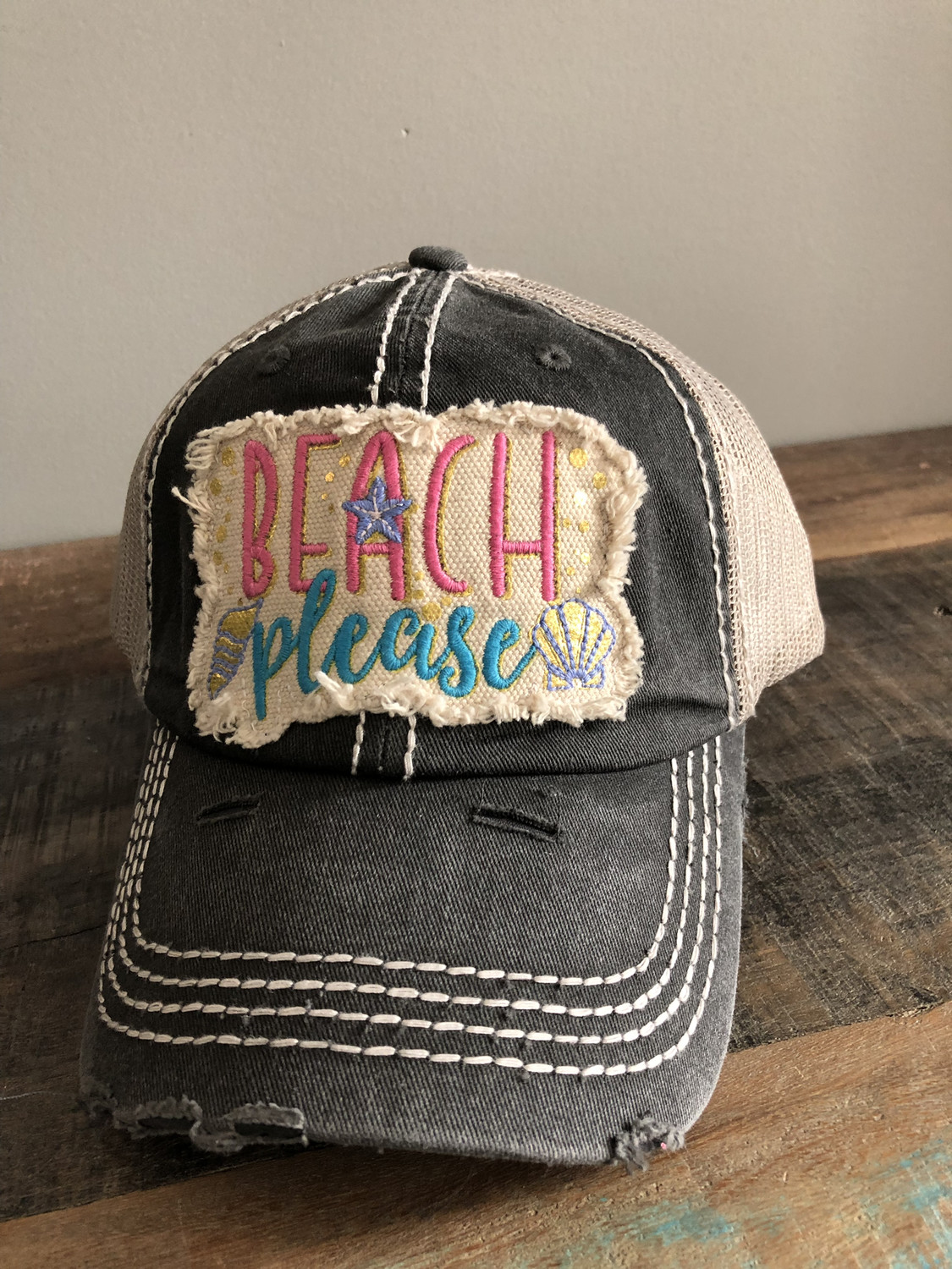 Beach Please ~ Distressed black