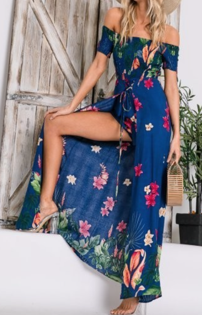 Maxi Romper ~ Royal Blue Floral