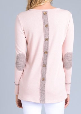 Baby pink Button Back