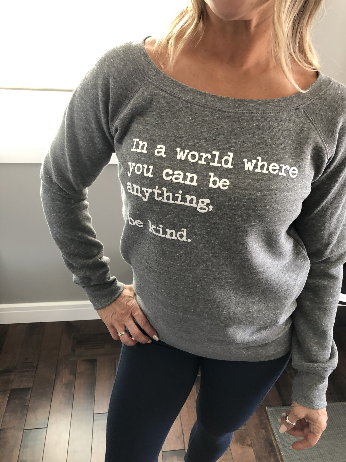 Be Kind ~ Sweater Collection ~ Wide neck ~ Grey
