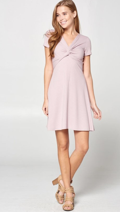 Front Knot Dress ~ Lavender