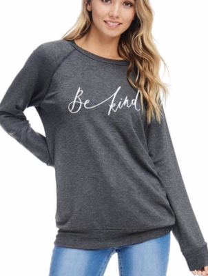 Be Kind terry knit sweater ~ charcoal