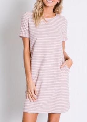 Stripes + Buttons ~ blush pink