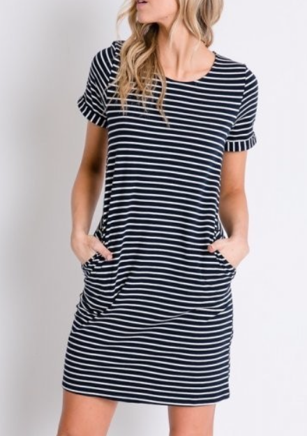 Stripes + Buttons ~ navy