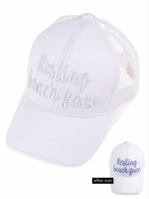 Resting Beach Face ~ white ~ messy bun cap