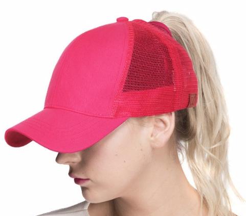 Messy Bun / High Pony Ball cap ~ hot pink