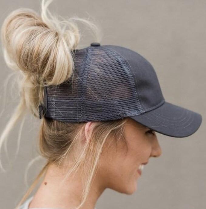 Messy Bun / High Pony Ball cap ~ charcoal