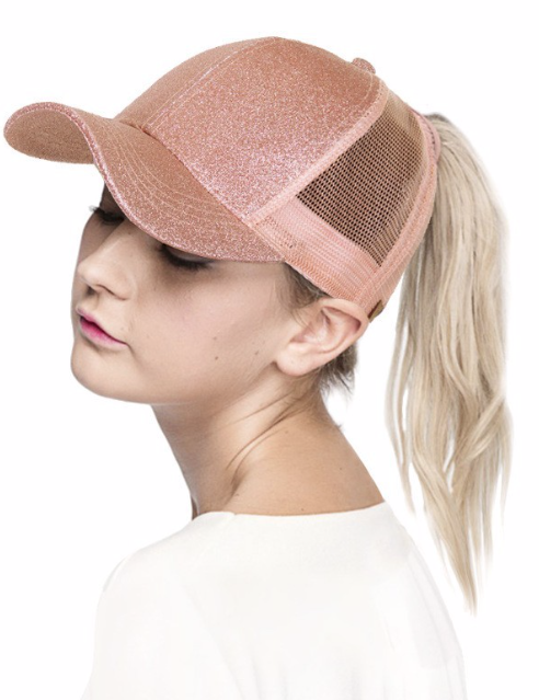 Messy Bun / High Pony Ball cap ~ SPARKLY ROSE GOLD