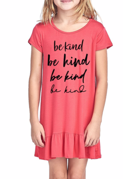 GIRLS ~ Be Kind on repeat ~ Coral frill