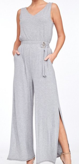 Side Slit Jumpsuit ~ Heather Grey