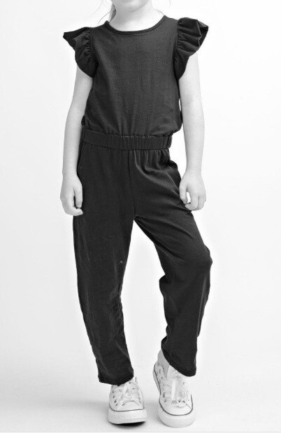 Girls ruffle sleeve Jumpsuit ~ black