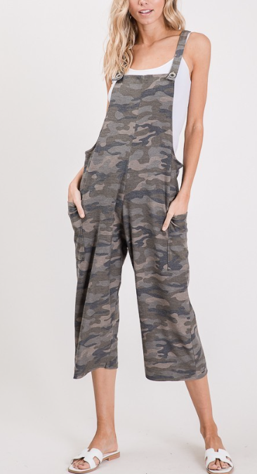 Cropped Camo Overalls