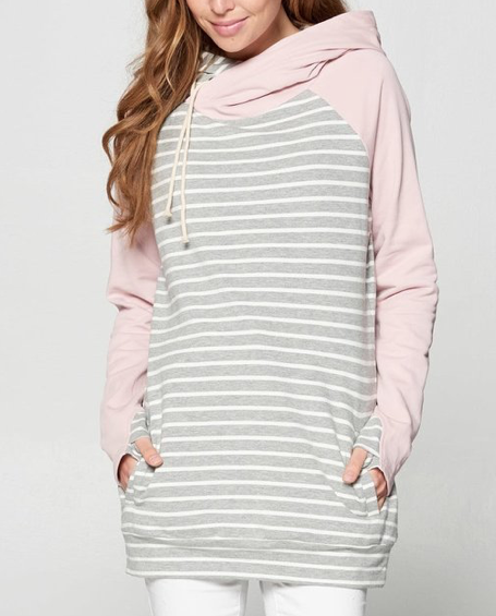 Pink + Stripes Double Hoodie