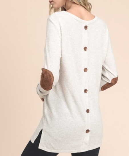 Button Back Sweater ~ Cream