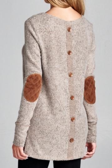 Button Back Sweater ~ Mocha