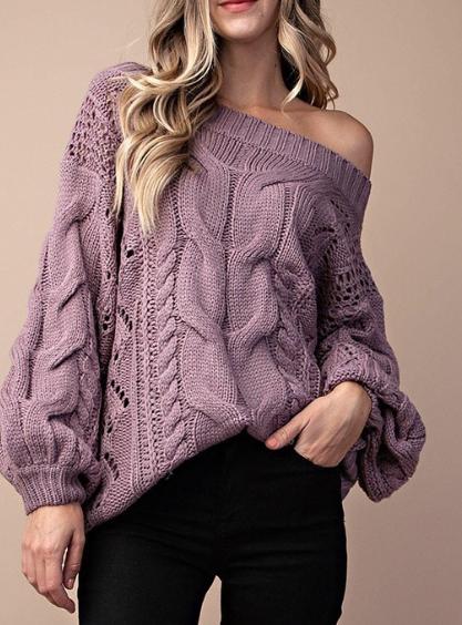 Chunky Knit ~ Ash Purple